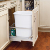 Rev-A-Shelf ''Premiere'' Single Bin Pull-Out Waste Container with Rear Storage Basket, 8.75 Gallons, White Polymer, Different Sizes Available, Min. Cabinet Opening: 11''  Wide