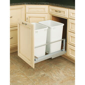 Rev-A-Shelf ''Premiere'' Double Bin Pull-Out Waste Container, 8.75 Gallons, White Polymer, Min. Cabinet Opening: 15''  Wide