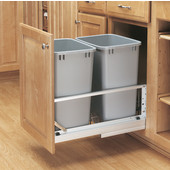 Rev-A-Shelf ''Premiere'' Double Bin Pull-Out Waste Container, 8.75 Gallons, Metallic Silver Polymer, Min. Cabinet Opening: 15''  Wide