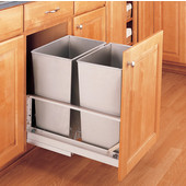Rev-A-Shelf ''Premiere'' Double Bin Pull-Out Waste Container, 8.75 Gallons, Stainless Steel, Min. Cabinet Opening: 15''  Wide