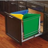 Rev-A-Shelf Soft-Close Trash Tri-Color Recycle Center - 75 Quart (18.75 Gallon), Min. Cabinet Opening: 20-3/16''  Wide