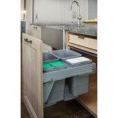 Rev-A-Shelf Quad Top Mount Waste Container Pullouts with Over-Travel GRASS Soft-Close Slides, Double 35 Quart (8.75 Gallon) & Double 8 Quart (2 Gallon) Metallic Silver Bins, for 24'' Full Access Base Cabinets