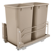 Rev-A-Shelf Undermount Waste Container Double 27 qt (6.75 Gallon), Champagne Bins, Min. Cabinet Opening: 11-1/2''  Wide