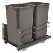 Rev-A-Shelf Undermount Waste Container Double 27 qt (6.75 Gallon), Orion Gray Bins, Min. Cabinet Opening: 11-1/2''  Wide