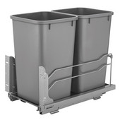 Rev-A-Shelf Undermount Waste Container Double 27 qt (6.75 Gallon), Silver Bins, Min. Cabinet Opening: 11-1/2''  Wide
