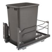 Rev-A-Shelf Undermount Waste Container Single 35 qt (8.75 Gallon), Orion Gray Bin, Min. Cabinet Opening: 11-1/2''  Wide