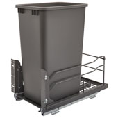 Rev-A-Shelf Undermount Waste Container Single 50 qt (12.5 Gallon), Orion Gray Bin, Min. Cabinet Opening: 11-1/2''  Wide