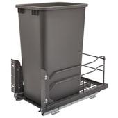 Rev-A-Shelf Undermount Waste Container Single 50 qt (12.5 Gallon), Orion Gray Bin, Min. Cabinet Opening: 11-1/2''  Wide