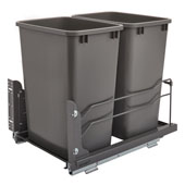 Rev-A-Shelf Undermount Waste Container Double 35 qt (8.75 Gallon), Orion Gray Bins, Min. Cabinet Opening: 15''  Wide