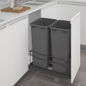 Rev-A-Shelf Undermount Waste Container Double 50 qt (12.5 Gallon), Orion Gray Bins, Min. Cabinet Opening: 15-1/2''  Wide