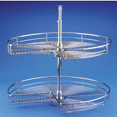 Rev-A-Shelf ''Premiere'' Independently Rotating Kidney Shaped 2-Shelf Chrome Wire Lazy Susan, 28'' - 32'' Diameters Available
