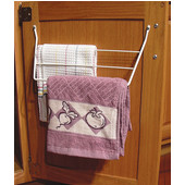 Rev-A-Shelf Kitchen Cabinet Door Mount Towel Holder, 12 3/4'' W x 3 1/2'' D x 6 1/2'' H, White, Min Cab Opening: 12-7/8'' W x 3-3/4'' D x 6-5/8'' H