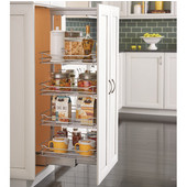 Rev-A-Shelf ''Premiere'' Chrome Soft-Close Pullout Pantry with Baskets, 4-1/2''W - 20-1/4''W x 21-11/16''D x 43-13/32''H - 80-3/4''H, with Full Extension Soft-Close Slides