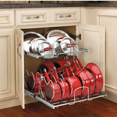 Rev-A-Shelf 21'' W Two-Tier Cookware Organizer for Pots, Pans & Lids in Kitchen Cabinet, Min Cab Opening: 20-1/2'' W x 22-1/8'' D x 22'' H