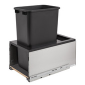Rev-A-Shelf Single 50 Quart (12.5 Gallon) Stainless Steel LEGRABOX Trash Pullout, Black Can with Black Insert, Bottom Mount with BLUMOTION Full Extension Soft-Close Slides