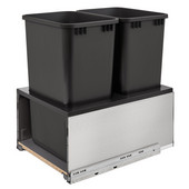 Rev-A-Shelf Double 50 Quart (12.5 Gallon) Stainless Steel LEGRABOX Trash Pullout, Black Cans with Black Insert, Bottom Mount with BLUMOTION Full Extension Soft-Close Slides