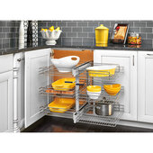 Rev-A-Shelf Pullout Soft Close 3-Tier Wire Pull-Slide-Pull Blind Corner Organizer for 15'' Door Openings, 26-1/4''W x 20-1/4''D x 24''H, Min Cab Opening: 15'' W x 20-1/2'' D x 24-1/2'' H