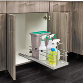 Rev-A-Shelf Single Trash Bin Pull-Out for Under Sink, with 15 Liter (4 Gallon) Gray Bin with Lid & Two 1 Liter Spray Bottles, Bottom Mount with Soft-Close Slides