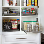 Rev-A-Shelf 15'' W x 20'' D Single Kitchen Cabinet Pull-Out Wire Basket, Chrome, Min Cab Opening: 14-1/2'' W x 20-1/8'' D x 7-1/8'' H