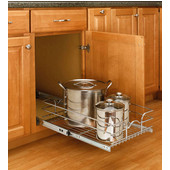 Rev-A-Shelf Single Kitchen Cabinet Pull-Out Wire Basket, Chrome, Numerous Available Sizes