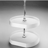 Rev-A-Shelf ''Traditional'' Independently Rotating D-Shaped 2-Shelf Polymer Lazy Susan for Diagonal Wall Cabinets, White or Almond Available