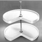 Rev-A-Shelf ''Traditional'' Kidney-Shaped Independently Rotating 2-Shelf Polymer Lazy Susan in White or Almond, 18'' - 32'' Diameters Available