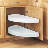 Rev-A-Shelf ''Traditional'' Half-Moon Pivot-Out 2-Shelf White Polymer Lazy Susan for Blind Corner Cabinet With 13-1/4'' - 19-1/4'' Minimum Opening