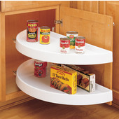 Rev-A-Shelf ''Traditional'' Half-Moon Pivot & Slide 2-Shelf White Polymer Lazy Susan for Blind Corner Cabinet w/ 13-1/4'' - 19-1/4'' Minimum Opening