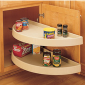 Rev-A-Shelf ''Traditional'' Half-Moon Pivot & Slide 2-Shelf Almond Polymer Lazy Susan for Blind Corner Cabinet w/ 13-1/4'' - 19-1/4'' Minimum Opening