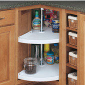 Rev-A-Shelf ''Traditional'' Door-Mount Pie-Cut 2-Shelf Polymer Lazy Susan in White for Kitchen Base Corner Cabinets, 24'' or 28'' Diameters Available