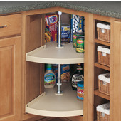 Rev-A-Shelf ''Traditional'' 24'' Diameter Door-Mount Pie-Cut 2-Shelf Polymer Lazy Susan in Almond for Kitchen Base Corner Cabinets, 24'' or 28'' Diameters Available