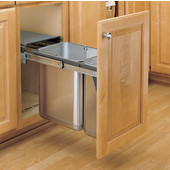 Rev-A-Shelf Double Bin Door Mount Stainless Steel Sink Base Pull-Out Waste Container, Min. Cabinet Opening: 10-3/8''  Wide