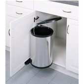 Rev-A-Shelf Pivot Out Round Waste Bin for Kitchen or Vanity, 15 Liter, Stainless Steel, Min. Cabinet Opening: 13-7/16''  Wide
