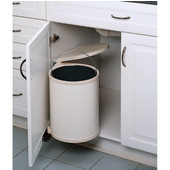 Rev-A-Shelf Pivot Out Round Waste Bin for Kitchen or Vanity in White Lacquered, Min. Cabinet Opening: 13-3/4'' Wide