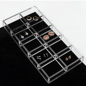 Rev-A-Shelf Clear Acrylic Earring Jewelry Organizer, 11-5/8''W x 6''D x 1-1/4''H