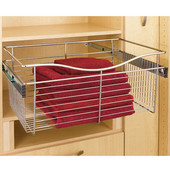 Rev-A-Shelf Closet or Kitchen Cabinet Pull-Out Heavy-Gauge Wire Basket, Chrome, 20''D x 11''H - Also Available in Other Sizes