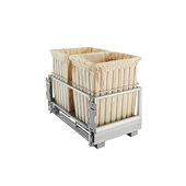 Rev-A-Shelf Double Wire Hamper with Rev-A-Motion, White or Silver Finish, 24''W x 13-15/16''D x 18-7/8''H