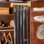 Rev-A-Shelf 16''D Glideware Pull-Out Base Cabinet Organizer With Blum Hardware & 5 Hooks, Maple Finish
