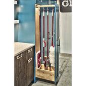 Rev-A-Shelf 22''D Glideware Pull-Out Base Cabinet Organizer With Blum Hardware & 7 Hooks, Maple Finish