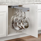 Rev-A-Shelf 22''D Glideware Pull-Out Base Cabinet Organizer With Blum Hardware & 7 Hooks, Grey Finish