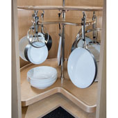 Rev-A-Shelf Not-So-Lazy Susan 32''W Kidney Tray Cookware Organizer With 2 Shelves & 7 hooks