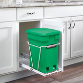 Rev-A-Shelf Single Green Compo+ Bin Pull-Out with Rear Storage, White Wire Bottom Mount with Ball Bearing Slides