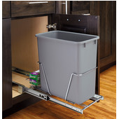 Rev-A-Shelf 20 Quart (5 Gallon) Pullout Waste Container w/ Rear Basket, Min. Cabinet Opening: 9'' or 8-3/4'' Wide