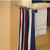 Rev-A-Shelf  Telescopic Side Mount Tie Rack, Chrome, Multiple Depths Available