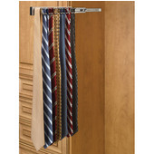 Rev-A-Shelf Telescopic Side Mount Tie Rack, Satin Nickel, Multiple Depths Available