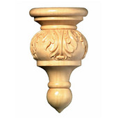 # CM2398-MA, Small Acanthus Finial, 2 pcs., 1-1/4''W x 5/8''D x 2-1/8''H, Maple