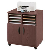 Mobile Machine Stand with Sorter, Mahogany, 28''W x 19-3/4''D x 30-1/2''H
