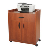 Deluxe Wood Mobile Refreshment/Machine Cart, 30'' W x 20-1/2'' D x 36-1/4''H, Cherry