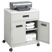 Machine Stand with Drawer, Enclosed, Steel, Gray, 25''W x 20''D x 29-3/4''H
