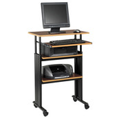 Muv Stand-Up Adjustable-Height Desk, Cherry, 29-1/2''W x 22''D x 35'' - 49''H